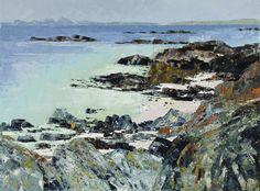 Frances Macdonald,  Rugged Coastline, Kintyre towards Jura.  Passing Islands - The Scottish Gallery, Edinburgh - Contemporary Art Since 1842