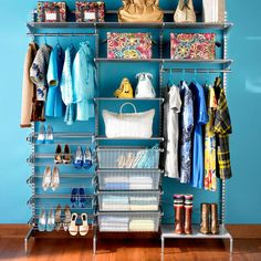 Cute eclectic way to have a closet without spending tons of money basket and hampers instead of drawers, clothes that hang are displayed as well as shoes etc.
