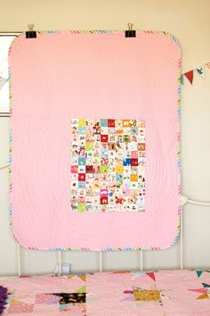 """storytime baby quilt - """"a quilt is nice"""" - love the use of """"negative"""" space (all that pink!)"""