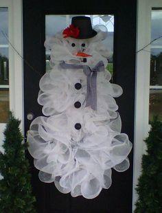 snowman wreath made from bath puffs - Google Search