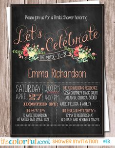 Let's Celebrate Chalkboard Floral Bridal Shower Invitation Neutral Wedding Flowers, Cheap Wedding Flowers, Winter Wedding Flowers, Bridesmaid Flowers, Bridal Shower Invitations, Invites, Bridal Showers, Vintage Floral, Chalkboard Invitation