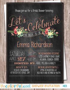 Let's Celebrate Chalkboard Floral Bridal Shower Invitation, Bridal Shower Invitation, Wedding , Flower, Rustic, Vintage, Floral (#113)