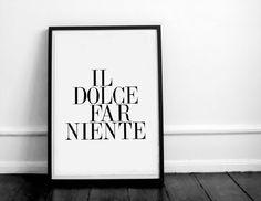 Il dolce far niente. Italian quote. Typography por Byoliart en Etsy