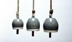 Round Thrown Bells- Stoneware, Hemp, Wood