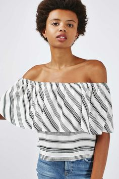**Stripe Deep Frill Bardot Top by Nobody's Child - Clothing Brands - Brands… Kids Clothing Brands, Instagram Fashion, No Frills, Fashion Boots, Off Shoulder Blouse, Kids Outfits, Asos, Topshop