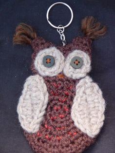 Little owl crocheted key-ring