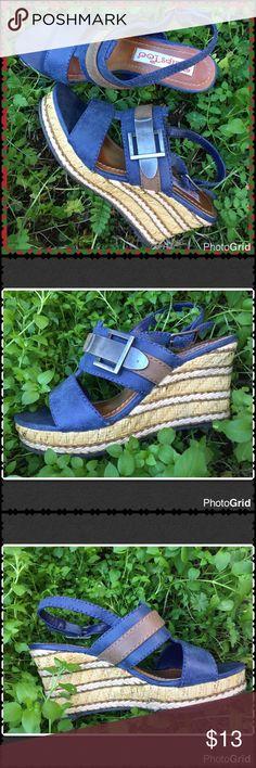 "2 Lips wedge sandals Denim blue and brown wedges.  Gunmetal grey hardware. Adjustable buckle ankle strap. 3"" heel height, 1"" platform. 2 lips Shoes Wedges"