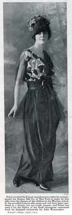 1914 - Paul Poiret spring fashion as displayed in Harper's Bazar magazine just before the war broke out.