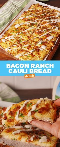 This Loaded Bacon Ranch Cauli Bread is the low-carb snack you'll never have to feel guilty about. Get the recipe at Delish.com. #recipe #easyrecipes #cauliflower #lowcarbdiet #lowcarb #ranch #bacon #cheese #snacks