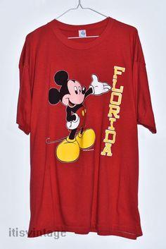 Vintage 80's Artex Disney Mickey Mouse Florida Souvenir Tourist 3XL Red T Shirt    Clothing, Shoes & Accessories, Men's Clothing, T-Shirts   eBay!