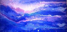Dusza 1 2015 Adriana Karima Rozmiar oryginału 120 cm x 60 cm  Dusza jest tajemnicą. Jej niebieskości wciągają w swój bezmiar. Można ją kontemplować, odnajdywać swoje interpretacje, szukać swojego sensu.   Oryginał w kolekcji prywatnej Dostępne reprodukcje obrazu Koloryduszy.com