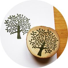 Summer Tree, Hand Carved Rubber Stamp