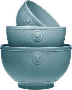 Set of 3 Earthenware Teal Lions Head Mixing or Serving Bowls Home Essentials #HomeEssentials