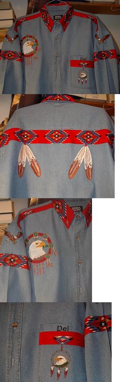 Native American 163146: Native American Eagle, Eagle Feather Denim Shirt -> BUY IT NOW ONLY: $90 on eBay!