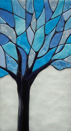 Mosaic Art Glass Winter Tree Wall Hanging in Artisanat, Art & artisanat maison, Décoration de mur & tatouage | eBay