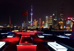 Bar Rouge -  Highly recommended! This bar offers a lovely view of the city. Although the drinks are pricy , Bar Rouge is worth a visit when in Shanghai. #Shanghai #Travel #Bars #Nightlife, #Thingstodoin