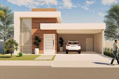 Modern Small House Design, Modern Exterior House Designs, Modern House Facades, Minimalist House Design, Modern Architecture House, Bungalow Haus Design, Modern Bungalow House, Duplex House Design, House Outside Design