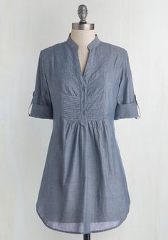 Back Road Ramble Tunic in Stream - Blue, Solid, Buttons, Casual, Good, Cotton, Woven, Safari, 3/4 Sleeve, Collared, Blue, Tab Sleeve, Pleats, Variation, Best Seller, Long, 4th of July Sale, Nautical, Press Placement