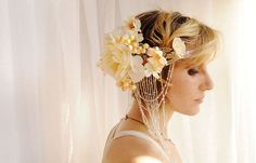 Bridal Floral Beaded Headdress Art Nouveau  by MagdaandCharlie, $450.00