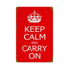 """""""Keep Calm and Carry On"""" WWII Vintage Look Metal Sign"""
