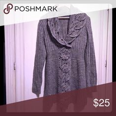 🎉Host Pick🎉Crocheted Sweater with floral details The color is in between grey and taupe....super comfortable and soft....looks great with jeans or leggings.  (Wool/Polyester) Laila Rowe Sweaters