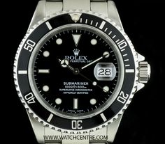 ROLEX S/S O/PERPETUAL BLACK DIAL SUBMARINER DATE B&P 16610  http://www.watchcentre.com/product/rolex-s-s-o-perpetual-black-dial-submariner-date-bp-16610/5611