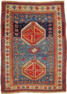 Caucasian Kazak rug, circa 1870