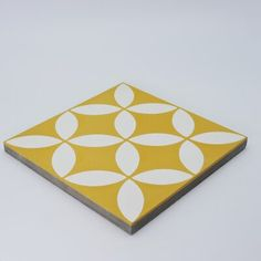 Moroccan Mosaic Amlo Handmade 8 x 8 Cement Field Tile Color: Yellow/White Wall And Floor Tiles, Wall Tiles, Yellow Tile, Color Yellow, French Country Bedding, Tiled Hallway, Ceramic Mosaic Tile, Black And White Tiles, Tiles Online