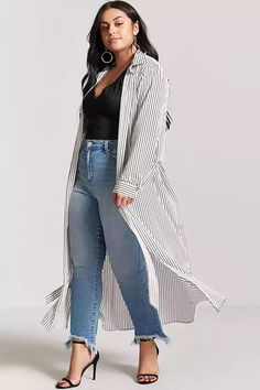 Product Name:Plus Size Pinstripe Duster Cardigan, Category:plus_size-main, Price:22.9