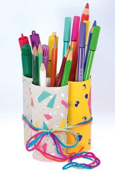Stifte-Ordnung aus Toilettenpapierrollen auf #arskreativ #DIY