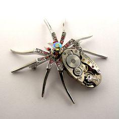 Steampunk Spider Brooch - Clockwork Watch Spider Brooch on Etsy, $38.75 CAD
