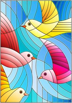 Illustration in stained glass style with bright abstract birds on a blue background Glass Painting Designs, Paint Designs, Doodle Art Journals, Chef D Oeuvre, Stained Glass Projects, Art Plastique, Op Art, Fabric Painting, Blue Backgrounds