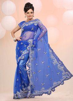 Scalloped Pattern Blue Net Saree