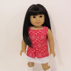 American Girl Doll Denim Skirt and Pleated Top by AmericAnnMade