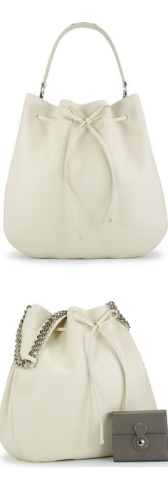Ralph Lauren Calfskin Drawstring Hobo (slouchy drawstring hobo bag in calfskin, featuring a silver-toned chain shoulder strap and a luxe leather handle) LOOKandLOVEwithLOLO: Ralph Lauren Fall 2014 Accessories