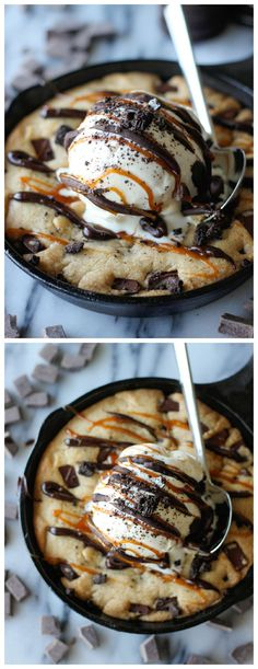 "Brown Butter Chocolate Chip Cookie Skillet (""Pizookie"") - No need to go to BJ's anymore for your pizookie cravings!"