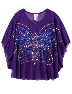 Chiffon Butterfly Top | Short Sleeve | Tops & Tees | Shop Justice