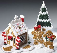Christmas Goodies Gingerbread House, Boy, Girl and Tree Plastic Canvas Pattern ePattern - Leisure Arts