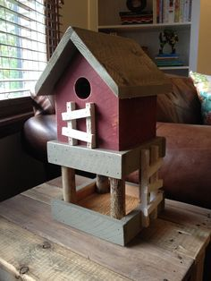 Reclaimed Birdhouse with Feeder by TheColeFamilyGarage on Etsy