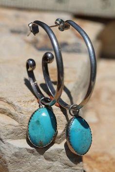 Vintage Sterling Silver Turquoise Large Hoop Pierced Post Earrings   eBay