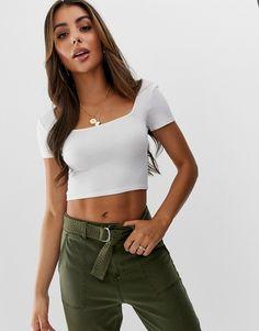 07915cdaf0574 ASOS DESIGN cap sleeve square neck crop t-shirt in white
