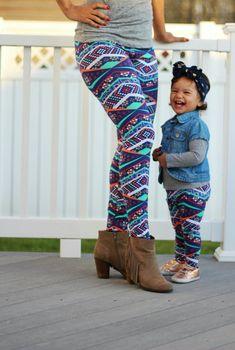Mother Daughter Matching Leggings - Tribal Print