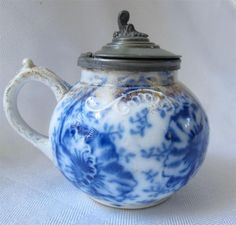 Antique Flow Blue Warwick Pansy Mustard Pot