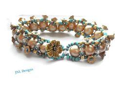 Beaded Bracelet Turquoise and Gold Seed Bead by TreasuresofJewels