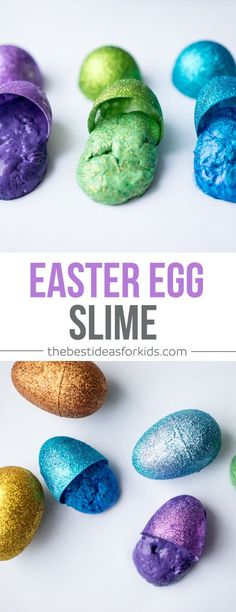 Make this fun Easter Egg Slime! So easy to make and you can even make it more like silly putty to easily fit into your Easter Eggs. Easter Science | Slime | Easter Slime | Borax Slime Recipe | Slime Recipe | Glitter Slime Recipe via @bestideaskids