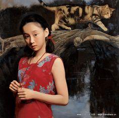 Wang Yidong. Niña y Gato. Óleo sobre lienzo 89x89cm, 2000.  Nació el año 1955 en Yimeng zona de montaña de Shandong, China. Es uno de los representantes del  estilo neo-clásico de China.  Y es conocido por sus estudios de retratos, en particular, de retratos de  las personas de su región de origen.