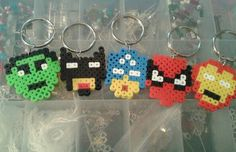 Check out this item in my Etsy shop https://www.etsy.com/listing/226676957/super-hero-key-chains-perler-bead-key