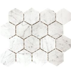 The Calacatta Gold hexagon mesh-mounted mosaic floor and wall tile is a natural stone marble that illustrates classical romance. This tile features elegant white tones with a splash of grey and streaks of gold. The mosaic has 1 in. hexagon chips mounted on a 12 in. x 12 in. mesh sheet. Install this tile to incorporate a distinctive, contemporary aesthetic enhancement into kitchens, bathrooms and a wide variety of commercial and residential projects.