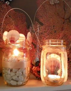 Mason jar lanterns to light the summer night! For outside. Maybe put some stuff in the homemade candles like this?