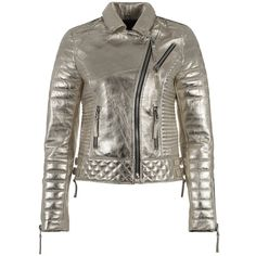Hand Made Shiny Metallic Gold Silver Leather Motorcycle Biker Women... ($111) ❤ liked on Polyvore featuring outerwear, jackets, gold, women's clothing, gold metallic jacket, biker jackets, fitted leather jackets, quilted leather jackets and silver leather jacket